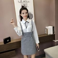 Sheeno - Set: Long-Sleeve Blouse + Plaid Suspender Dress
