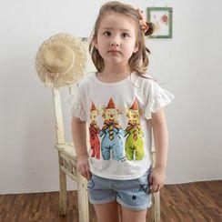 Lemony dudu - Kids Lace-Trim Cartoon Print T-Shirt