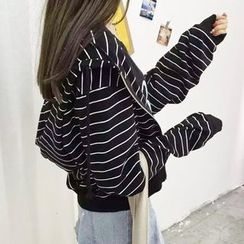 Meimei - Pinstriped Hooded Jacket