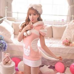 Candy Rain - Short-Sleeve Hooded Sheath Dress
