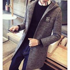 Fisen - Lettering Applique Hooded Coat
