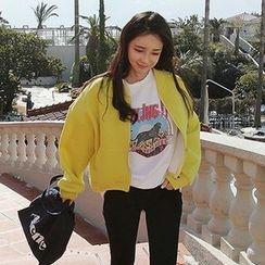 Seoul Fashion - Zipped Cropped Neoprene Jacket