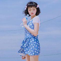 小桃泳衣 - 盖袖裙式泳装