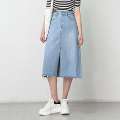 TAILO - 前開衩牛仔A字短裙