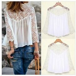 Persephone - Lace Panel Long-Sleeve Chiffon Top