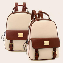 BeiBaoBao - Faux Leather Two-Tone Backpack
