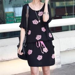QLand - Short-Sleeve Floral Dress