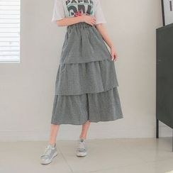 Seoul Fashion - Band-Waist Layered Gingham Long Skirt