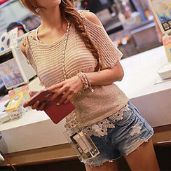 Fashion Street - Maternity Elbow-Sleeve Shoulder Cut Out knit Top