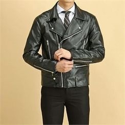 THE COVER - Diagonal-Zip Faux-Leather Biker Jacket