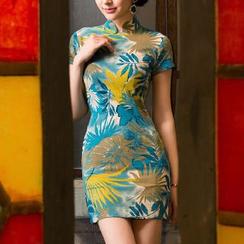 Miss Four Qipao - Cap-Sleeve Print Linen Cheongsam