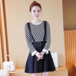 Sienne - Set: Striped Long Sleeve Top + A-Line Jumper Skirt