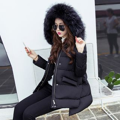 SimplyMe - Furry Hooded Padded Coat
