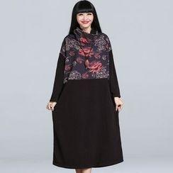 Jolly Club - Long-Sleeve Print-Panel Dress
