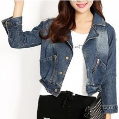 Crytelle - Cropped Denim Jacket