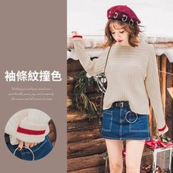 PUFII - Stand Collar Knit Top