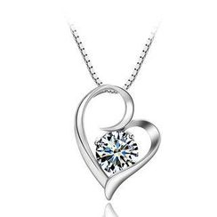 BELEC - 925 Sterling Silver Heart-shaped Pendant with White Swarovski Element Cubic Zircon and 45 Cm Necklace