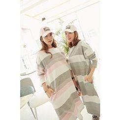 Momnuri - Maternity Stripe Nursing T-Shirt Dress