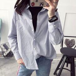Qimi - Printed Back Striped Shirt