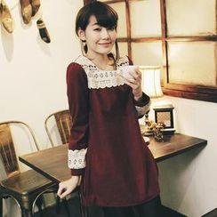 Tokyo Fashion - Crochet-Trim Long-Sleeve Dress