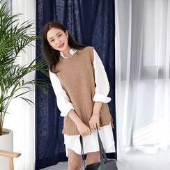 Envy Look - Sleeveless Slit-Hem Knit Top