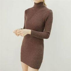 Honey House - Turtleneck Ribbed Sweater Dress