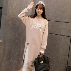 Maine - Applique Slit-Front Long Pullover