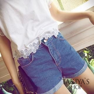 TAKIYAS - High-Waist Denim Shorts