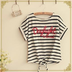 Fairyland - Lettering Striped T-Shirt
