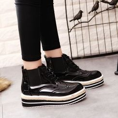 Wello - Platform High-Top Brogue Lace-Up Shoes