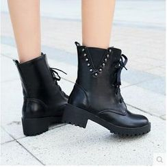 Gizmal Boots - Studded Lace-Up Boots