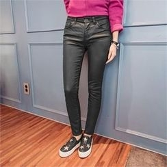 JOAMOM - Coated Brushed-Fleece Lined Skinny Pants