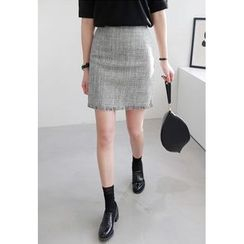 Miamasvin - Fringed-Hem Tweed Skirt