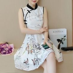 Diosa - Printed Sleeveless Mandarin Collar A-Line Dress