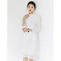 FROMBEGINNING - Stand-Collar Lace A-Line Dress