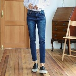Seoul Fashion - Fray-Hem Washed Tapered Jeans