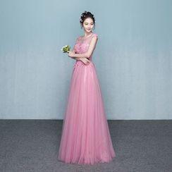 P-BRIDE - Cap-Sleeve Paneled Evening Gown