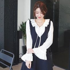 mimi&didi - Pleated-Collar Tie-Front Top