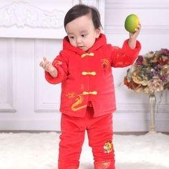 Snow Dragon - 童裝套裝: 中式印花連帽衫 + 上衣 + 長褲