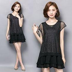 Ashlee - 网纱拼接假两件连衣裙