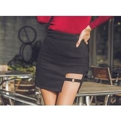 UUZONE - Cutout-Detail Mini Pencil Skirt