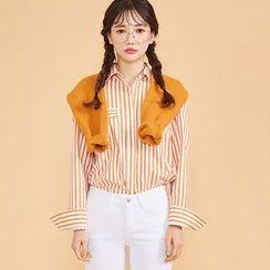 chuu - Dual-Pocket Stripe Shirt