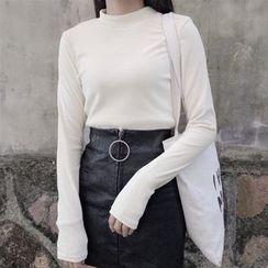 Dute - Long Sleeve Mock Neck Velvet T-Shirt