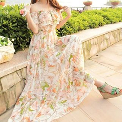 Fashion Street - Floral Print Off-Shoulder Sundress