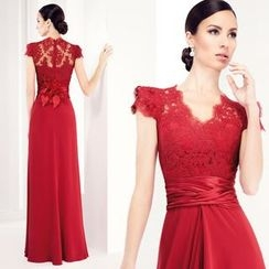 Angel Bridal - Cap Sleeve Lace Panel Sheath Evening Gown