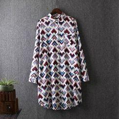 Blue Rose - Printed Long Shirt
