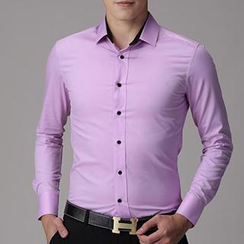 Besto - Plain Long Sleeves Dress Shirt