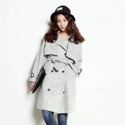 kenzi w - Flap-Front Wool Blend Trench Coat