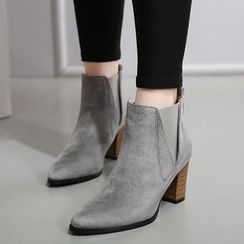 Monde - Chunky Heel Pointy Ankle Boots