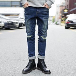TOMONARI - Slit-Knee Washed Straight-Cut Jeans